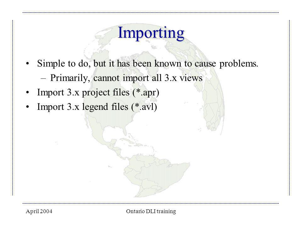 Importing Simple to do, but it has been known to cause problems.