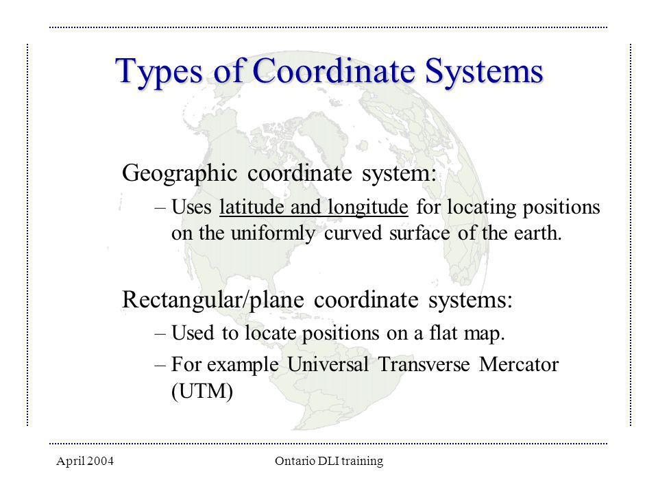 Types of Coordinate Systems