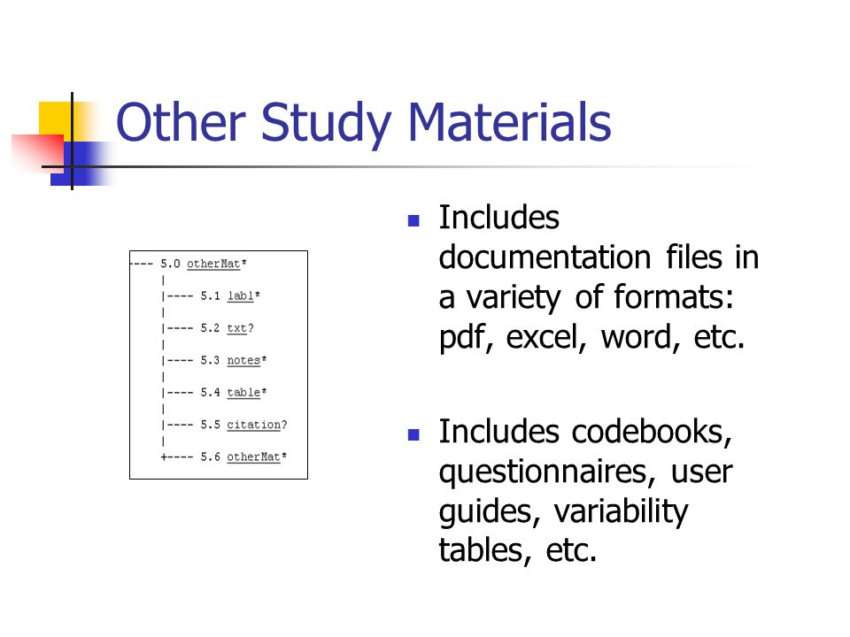 Other Study Materials Includes documentation files in a variety of formats: pdf, excel, word, etc.