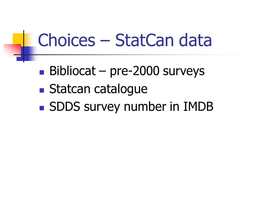 Choices – StatCan data Bibliocat – pre-2000 surveys Statcan catalogue