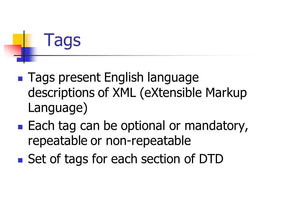 Tags Tags present English language descriptions of XML (eXtensible Markup Language)