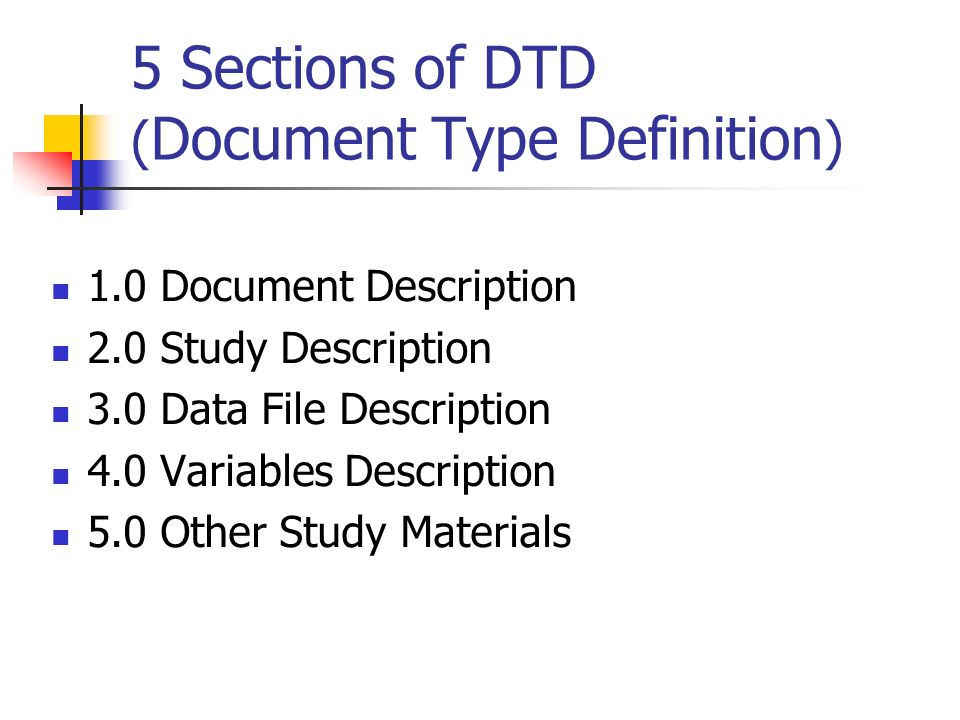 5 Sections of DTD (Document Type Definition)