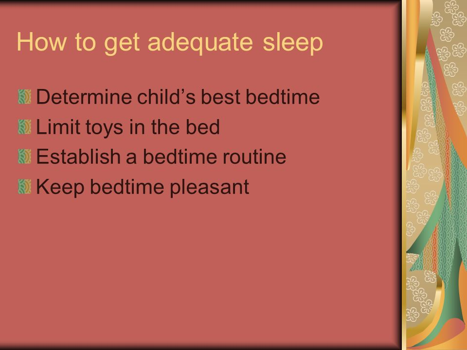 How to get adequate sleep