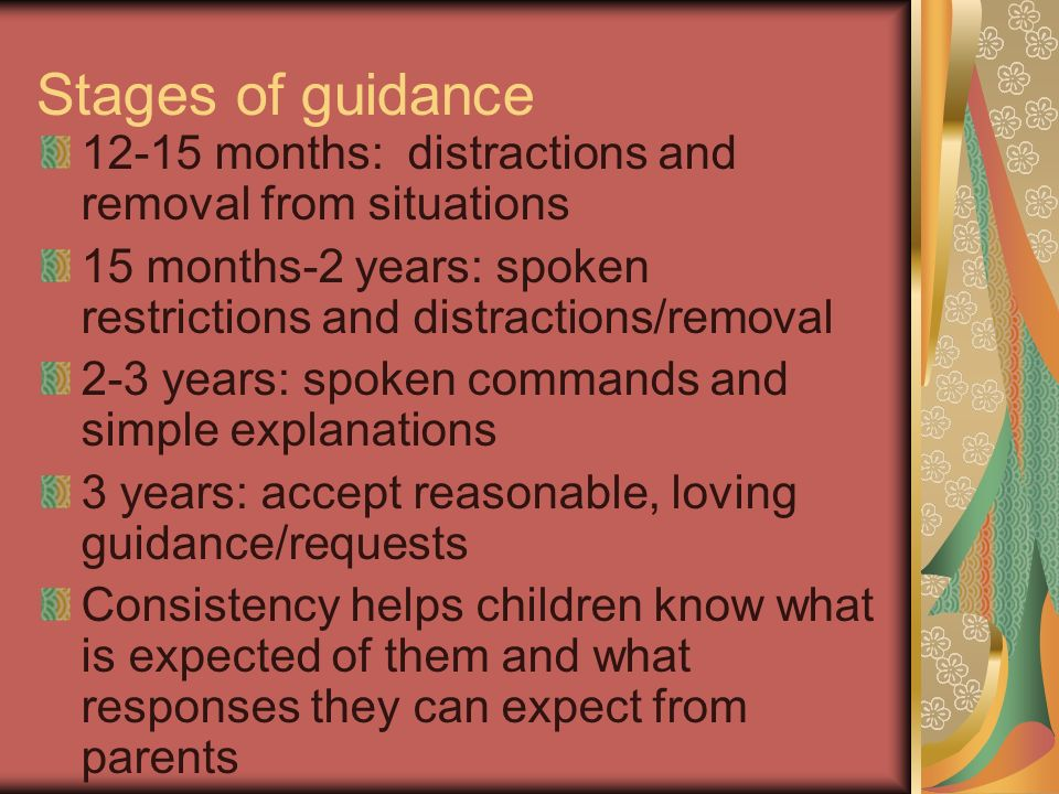 Stages of guidance months: distractions and removal from situations. 15 months-2 years: spoken restrictions and distractions/removal.