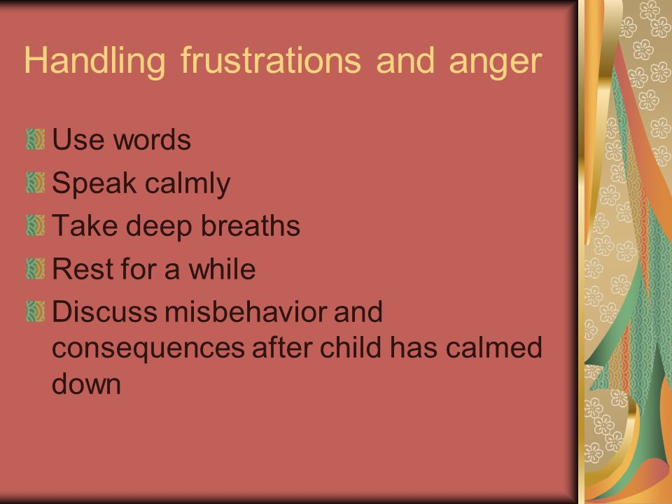 Handling frustrations and anger