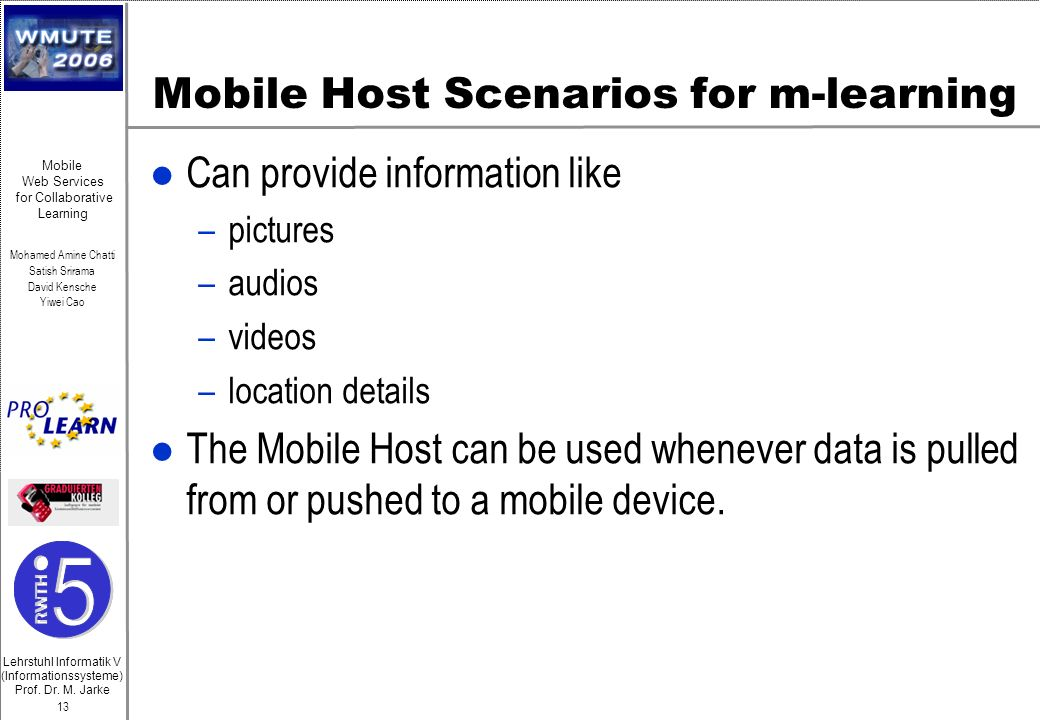 Mobile Host Scenarios for m-learning