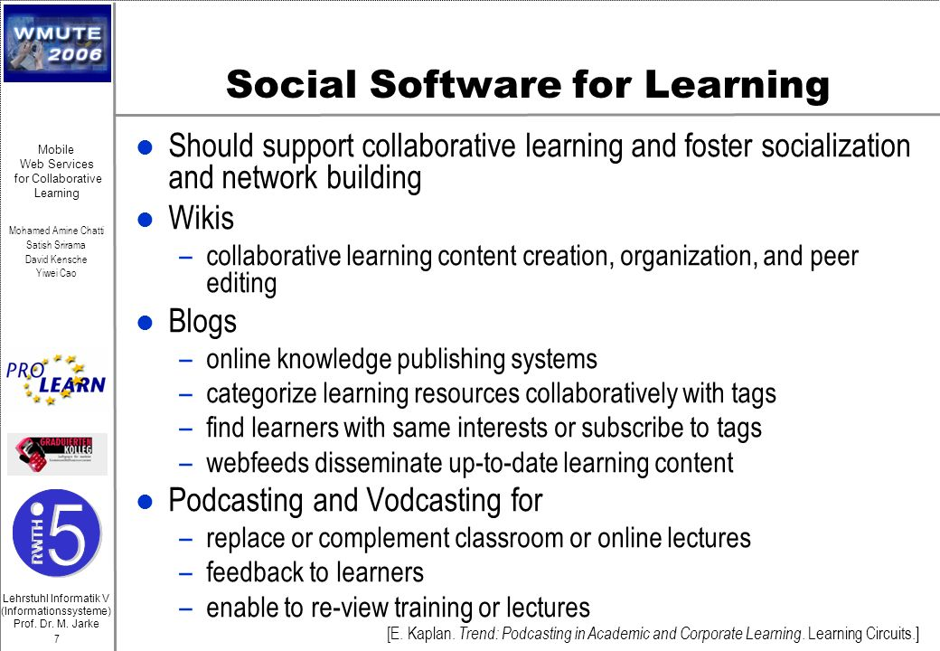 Social Software for Learning