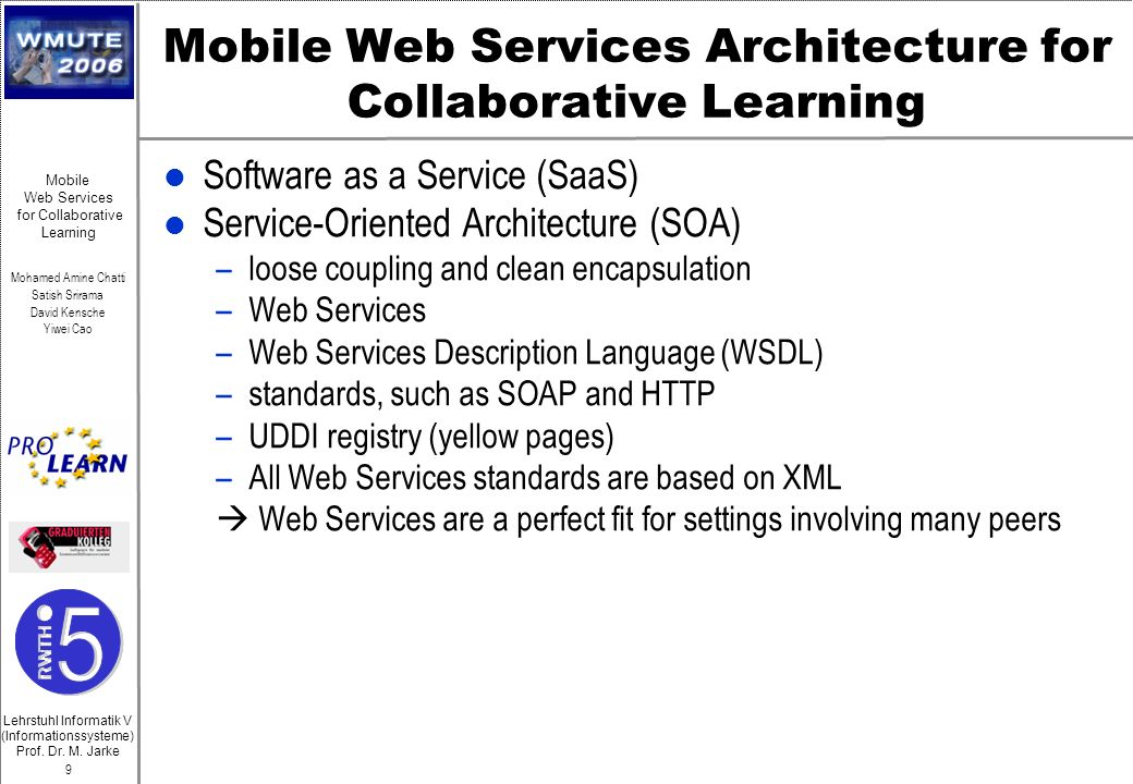 Mobile Web Services Architecture for Collaborative Learning