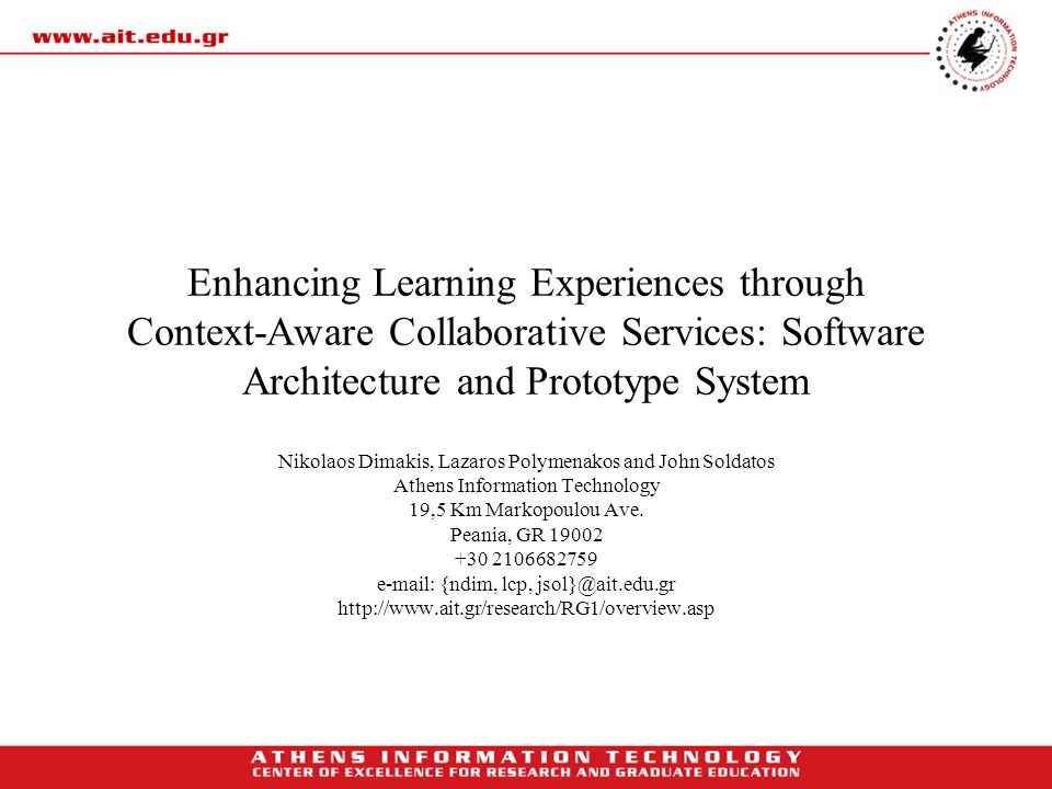 Enhancing Learning Experiences through Context-Aware Collaborative Services: Software Architecture and Prototype System