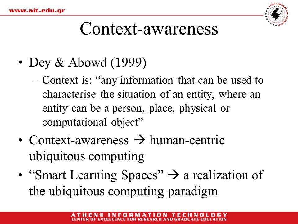Context-awareness Dey & Abowd (1999)