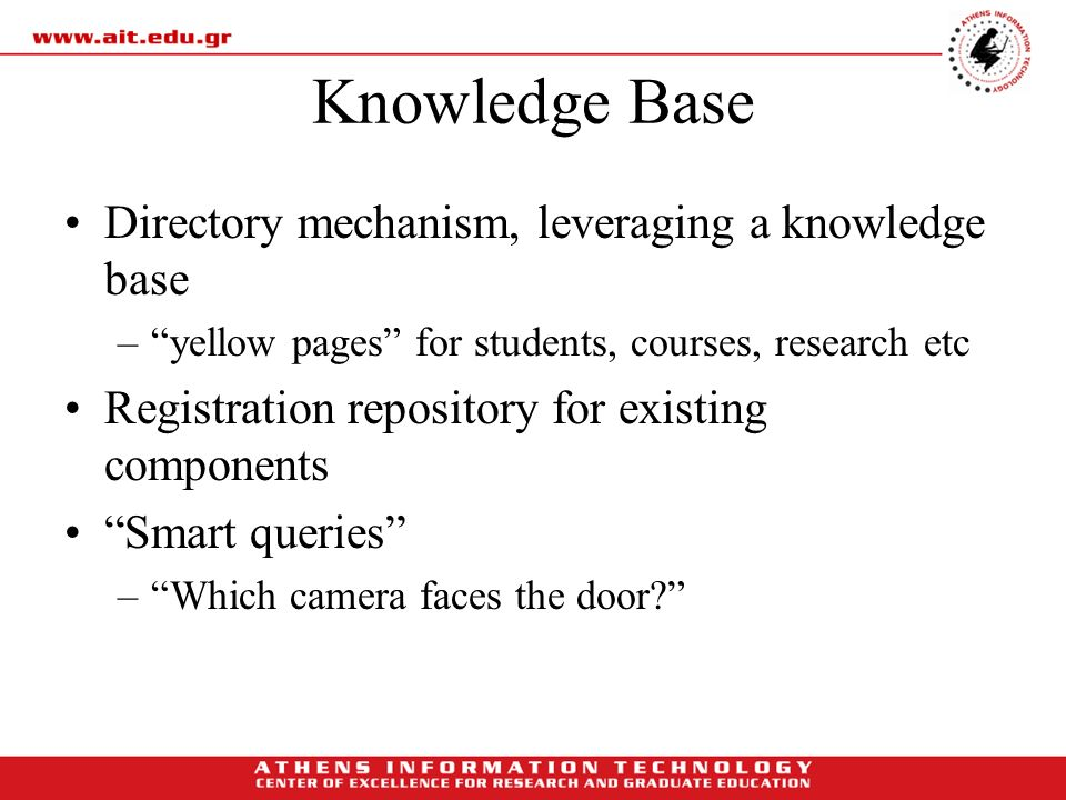 Knowledge Base Directory mechanism, leveraging a knowledge base