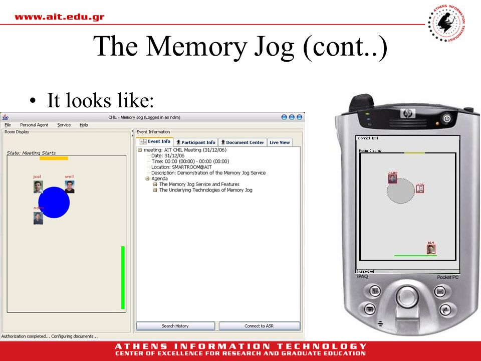 The Memory Jog (cont..) It looks like: