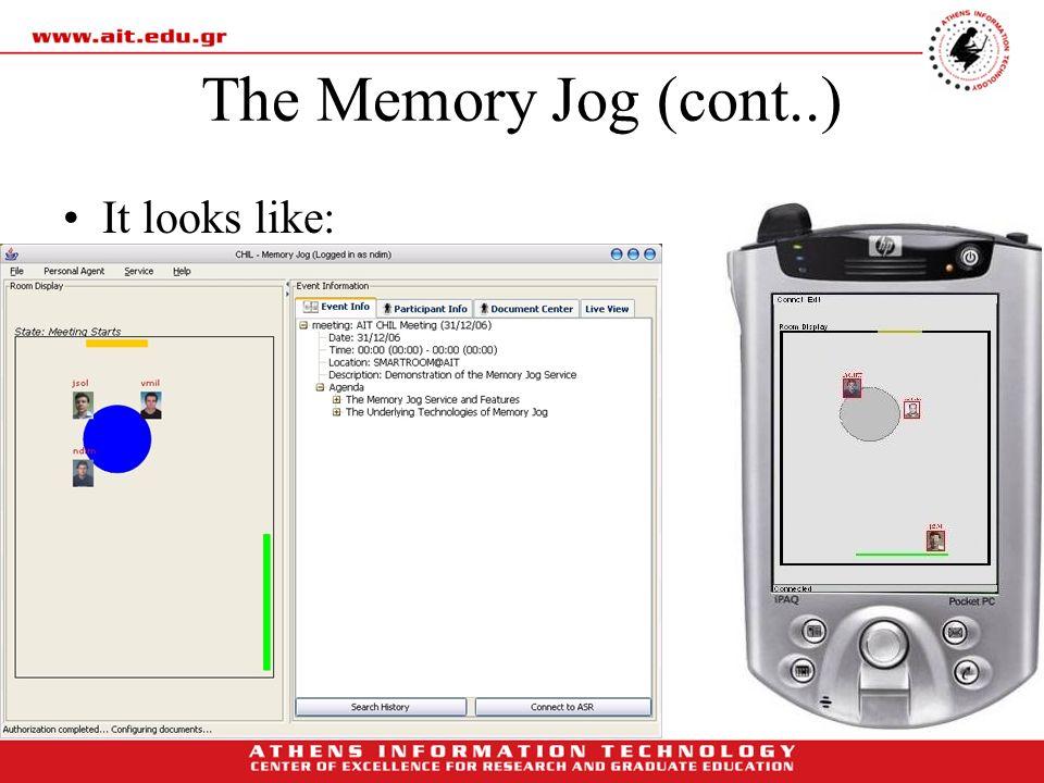 The Memory Jog (cont..) It looks like: