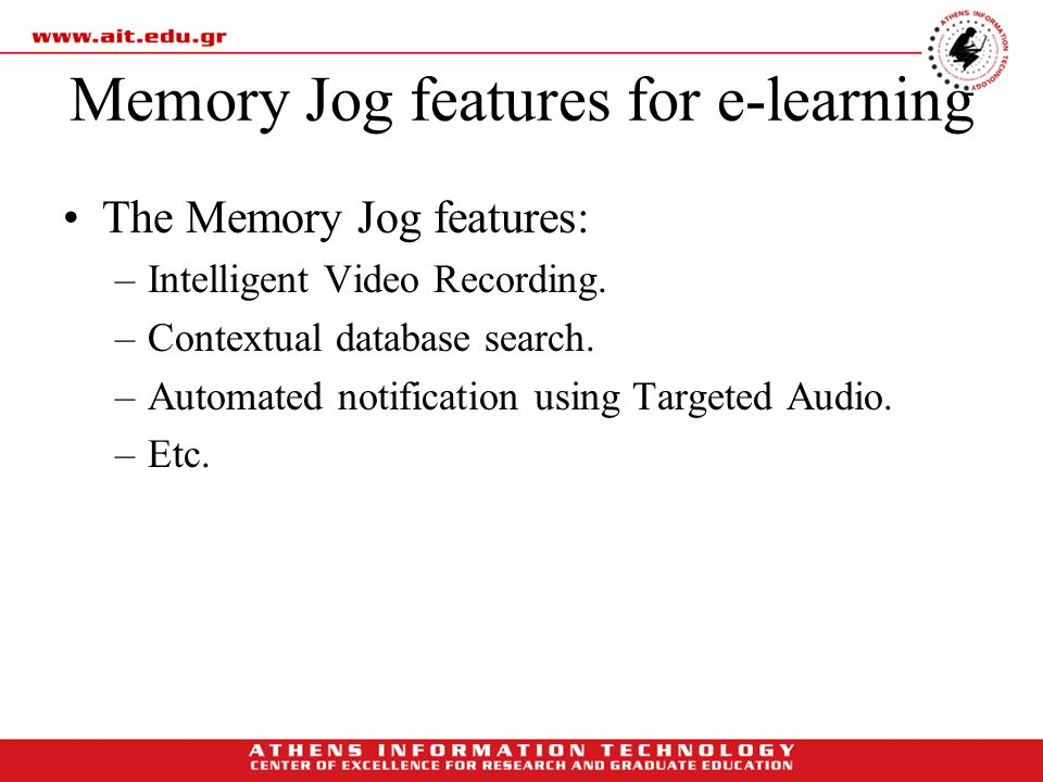 Memory Jog features for e-learning