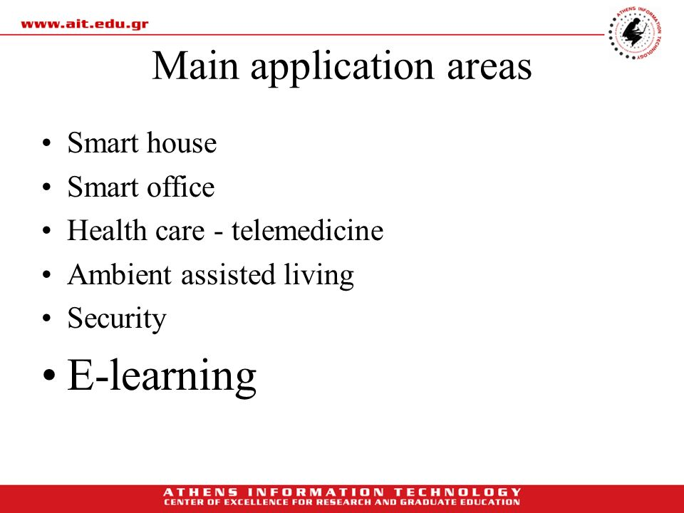Main application areas