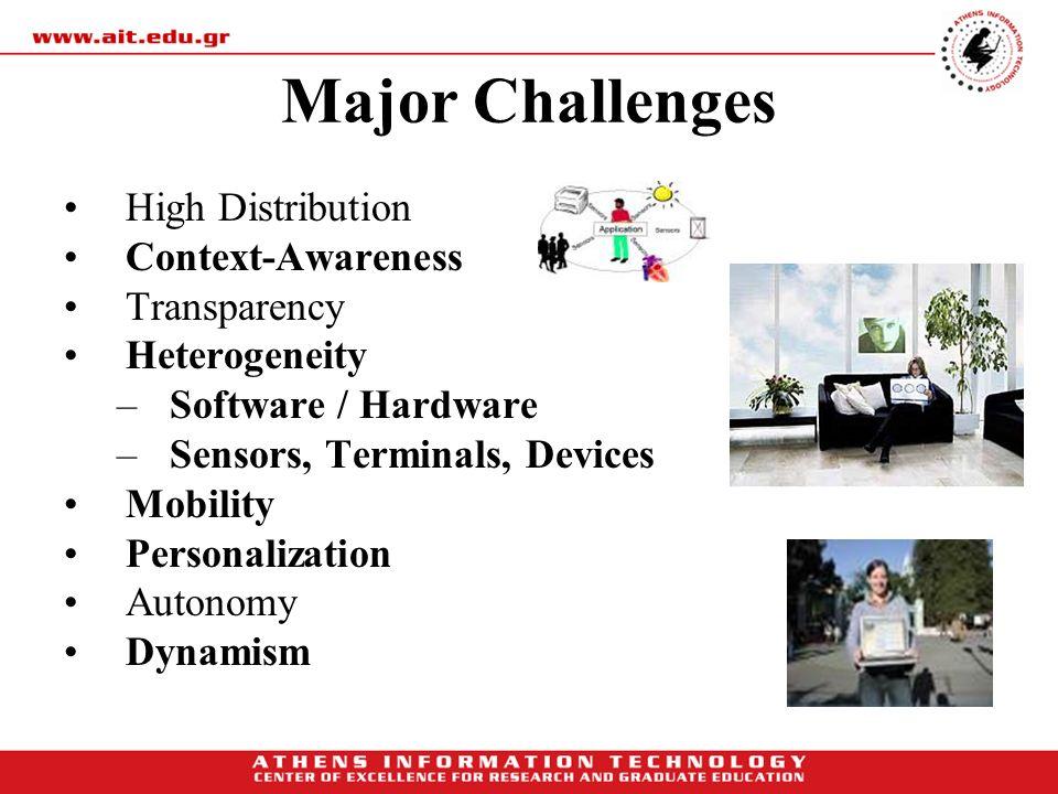 Major Challenges High Distribution Context-Awareness Transparency