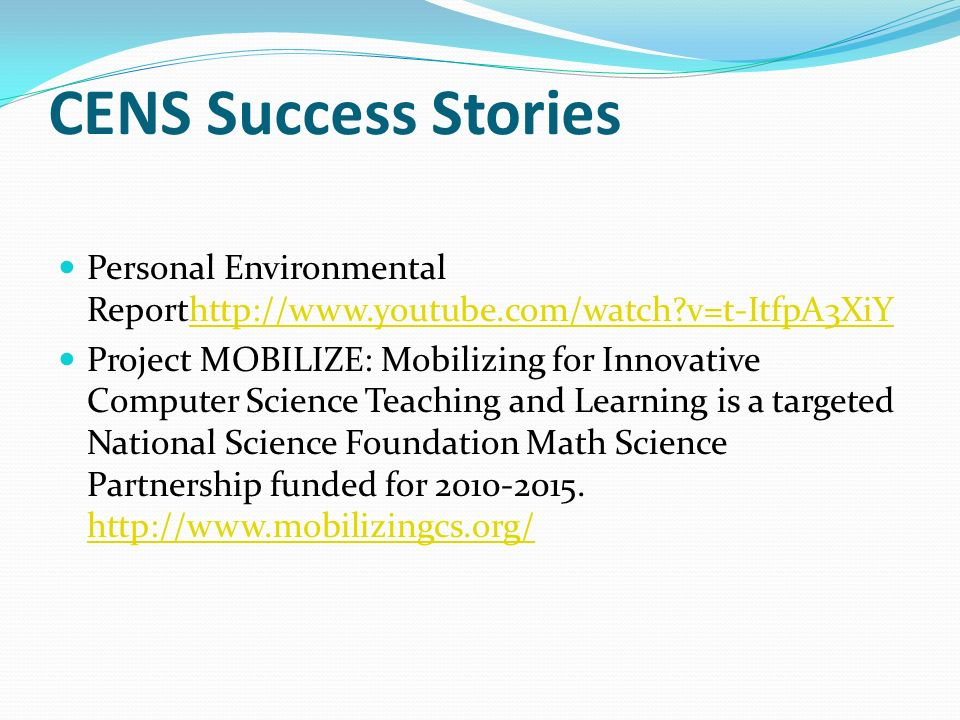 CENS Success Stories Personal Environmental Reporthttp://www.youtube.com/watch v=t-ItfpA3XiY.