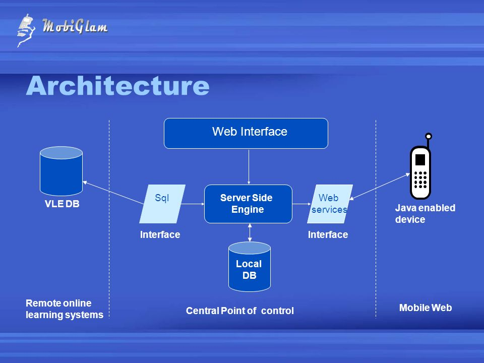 Architecture Web Interface VLE DB Java enabled device