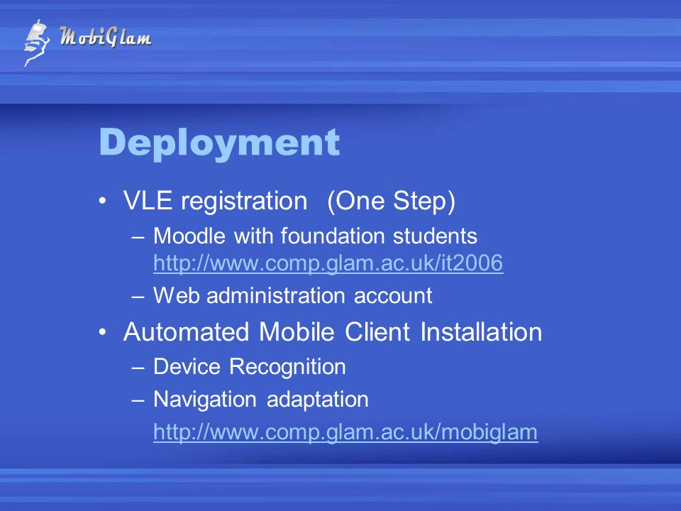 Deployment VLE registration (One Step)