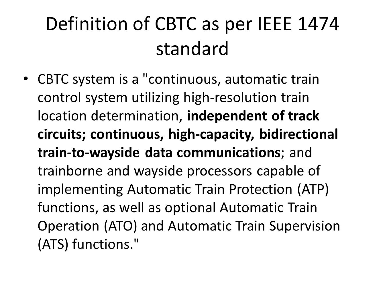 Communication based train control ppt video online download for Ieee definition