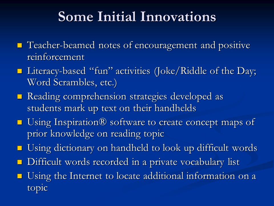 Some Initial Innovations