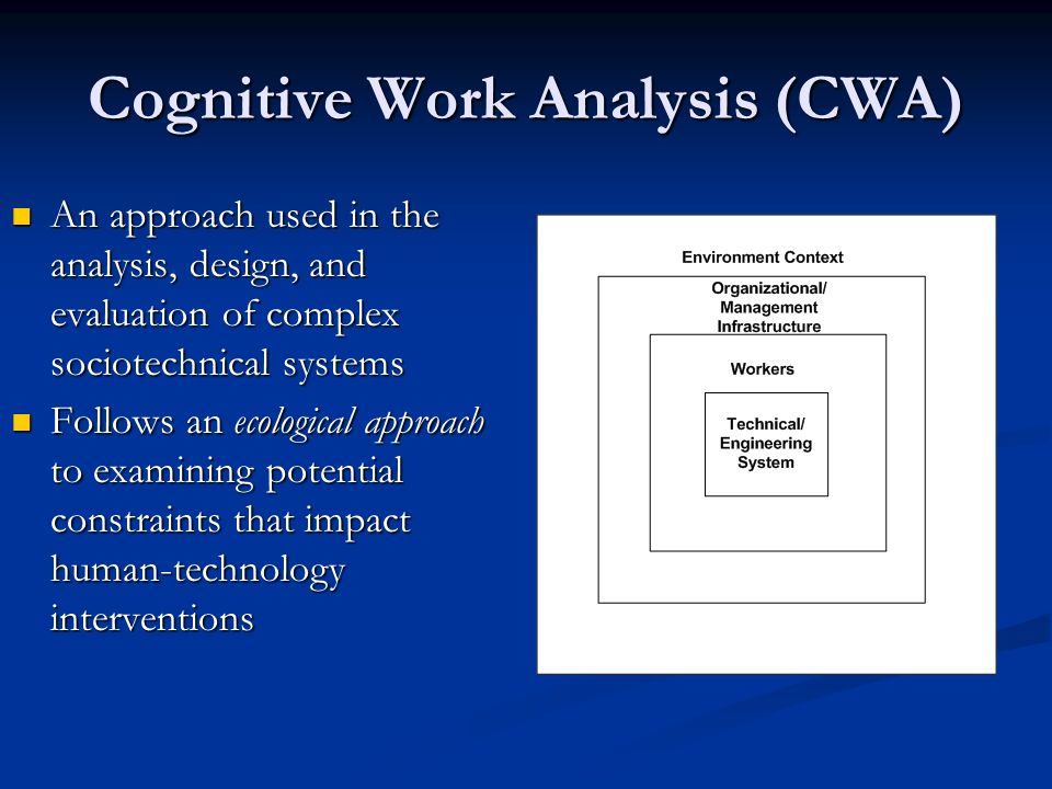 Cognitive Work Analysis (CWA)