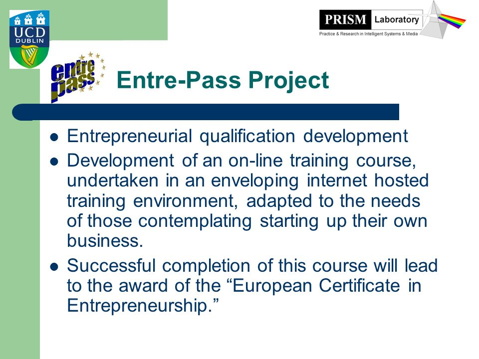 Entre-Pass Project Entrepreneurial qualification development