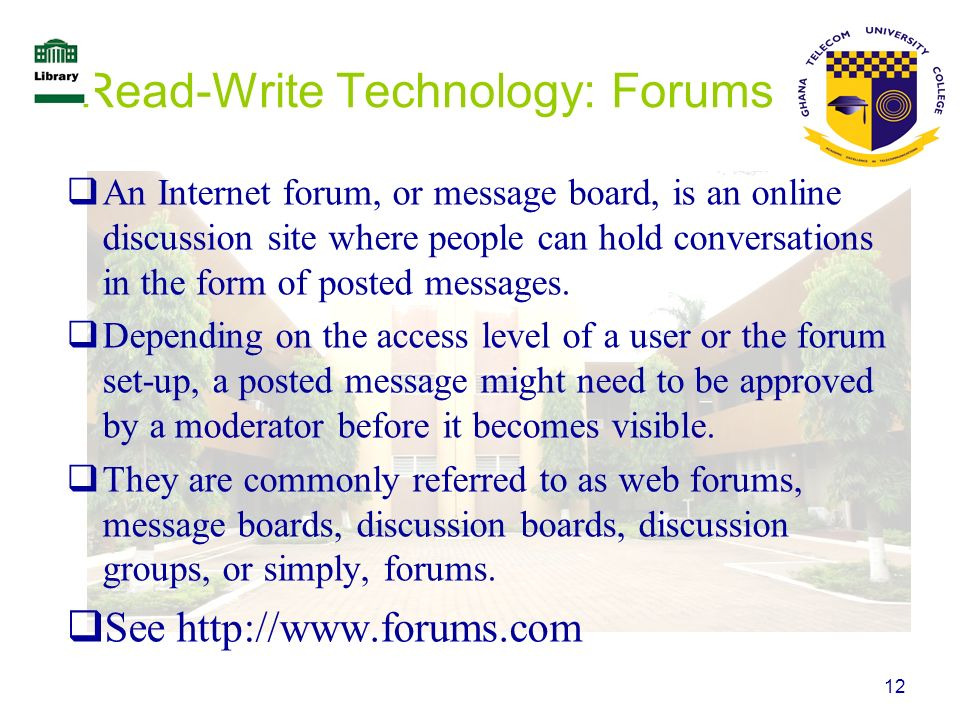 Read-Write Technology: Forums