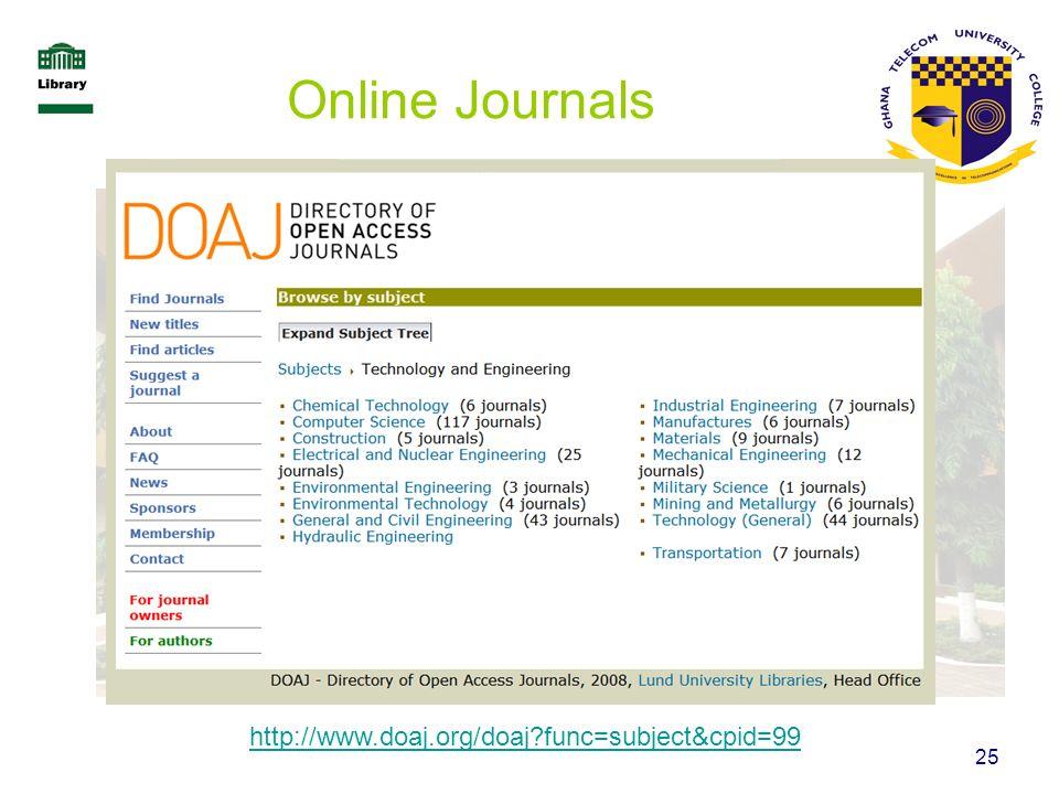 Online Journals http://www.doaj.org/doaj func=subject&cpid=99