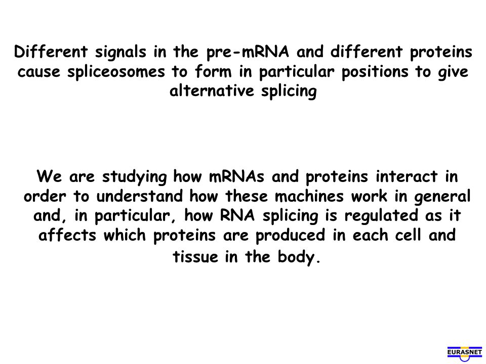 Different signals in the pre-mRNA and different proteins cause spliceosomes to form in particular positions to give alternative splicing