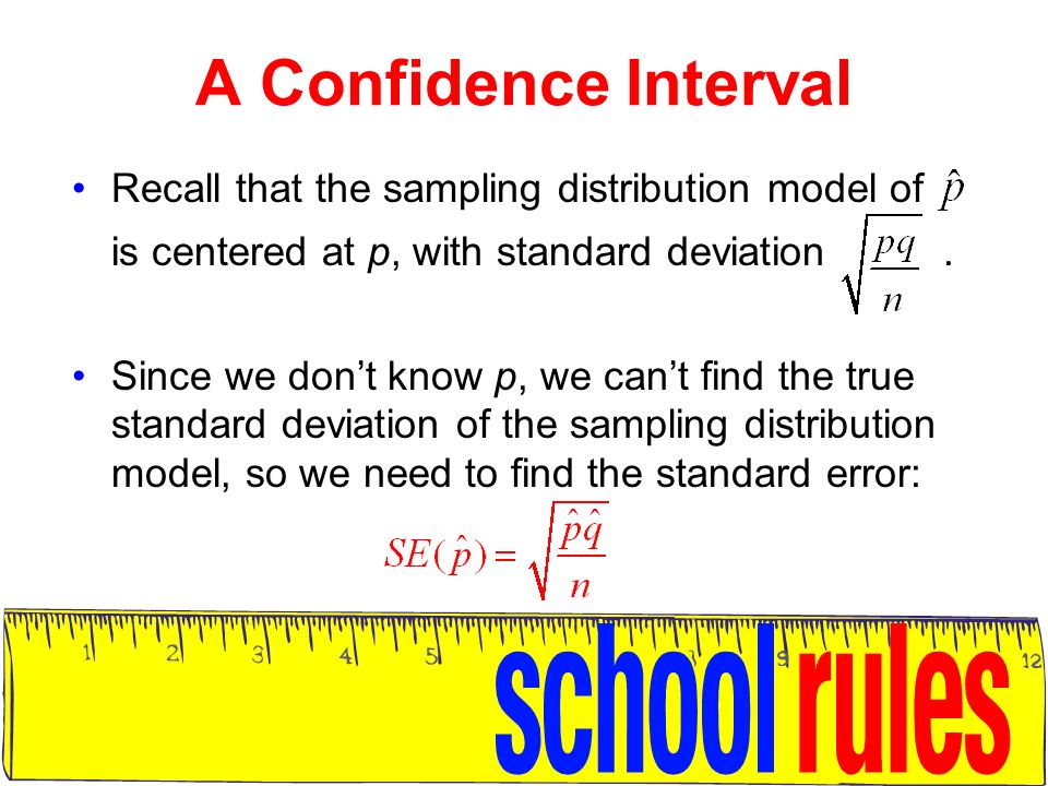 Confidence intervals for proportions ppt video online download a confidence interval recall that the sampling distribution model of is centered at p with ccuart Gallery