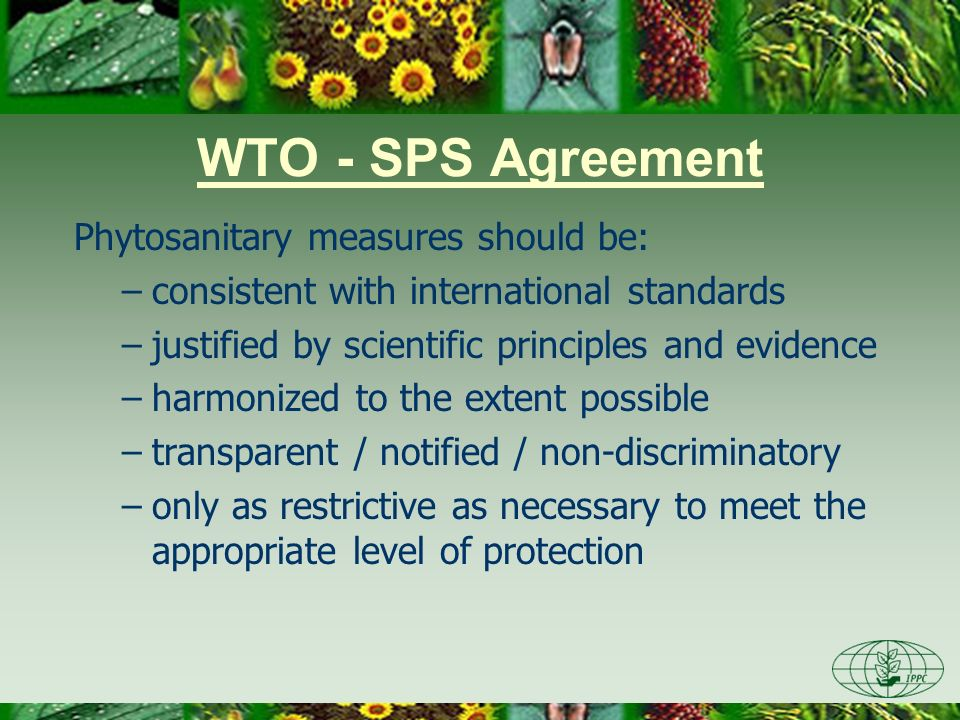 WTO - SPS Agreement Phytosanitary measures should be: