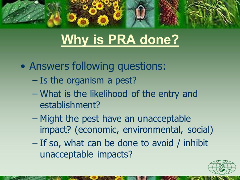 Why is PRA done Answers following questions: Is the organism a pest