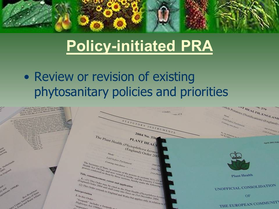 Day One 3/28/2017. Policy-initiated PRA. Review or revision of existing phytosanitary policies and priorities.