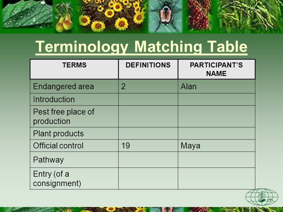 Terminology Matching Table