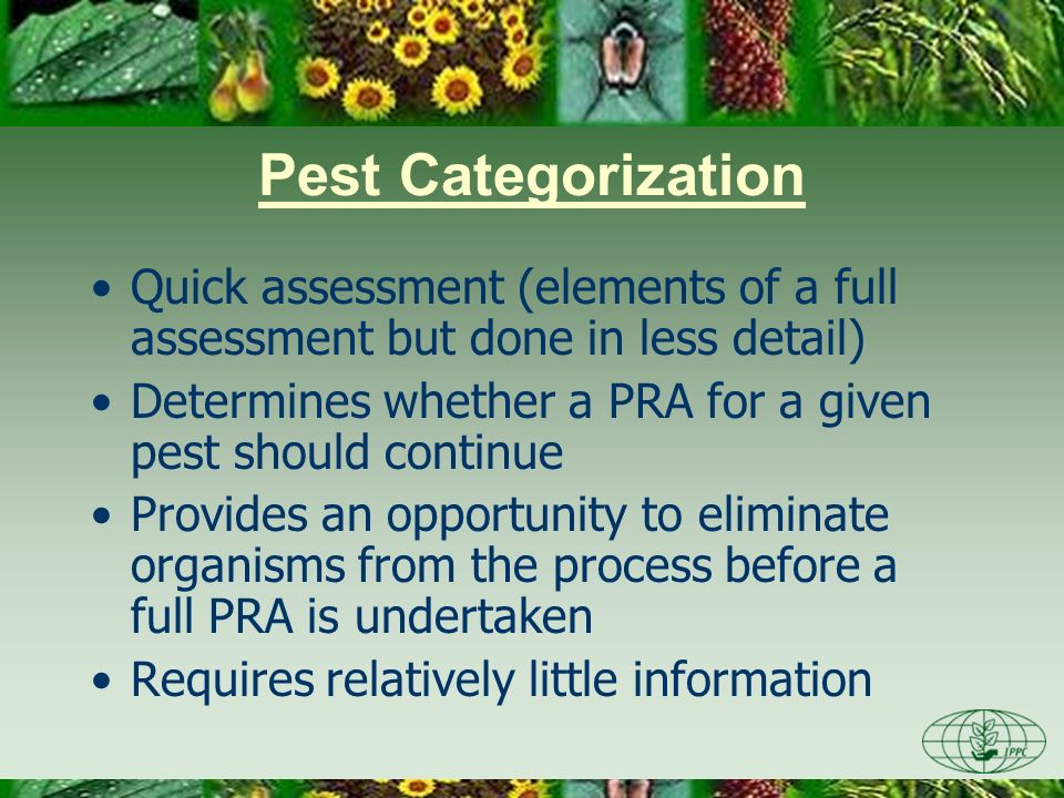 Day One 3/28/2017. Pest Categorization. Quick assessment (elements of a full assessment but done in less detail)