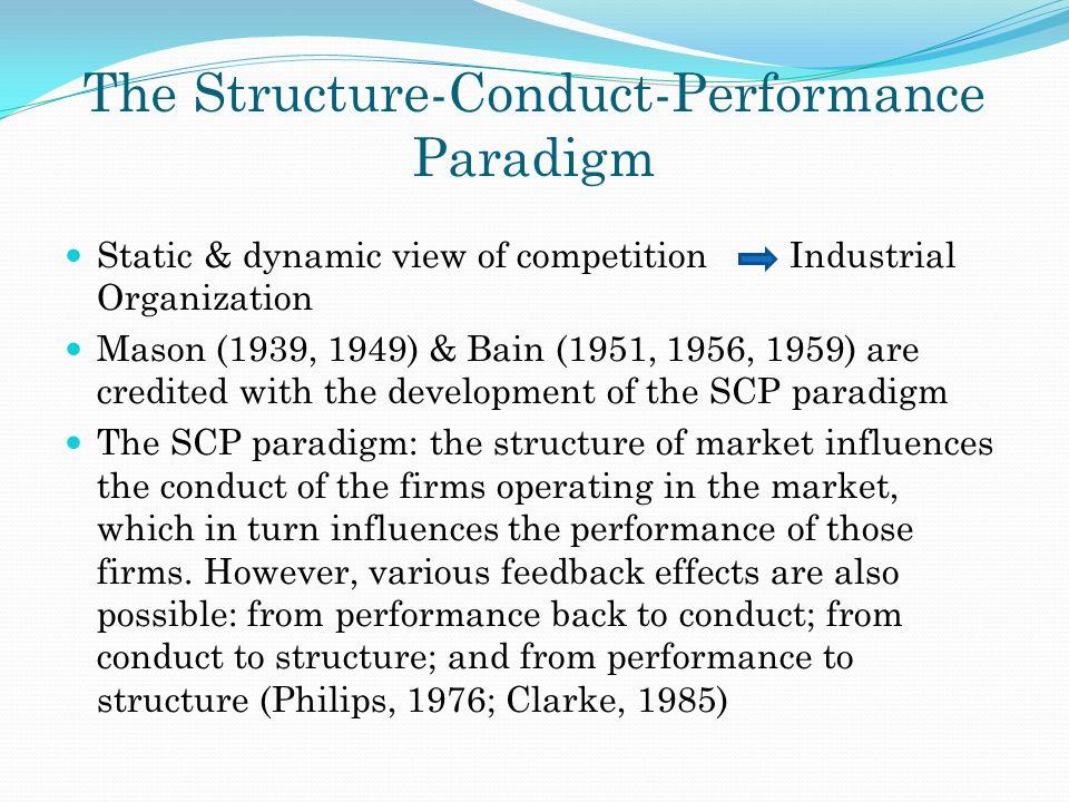 market structure conduct performance scp Applicability of structure conduct performance paradigm to is the structure, conduct and performance (scp) conduct performance paradigm in the pfi market.
