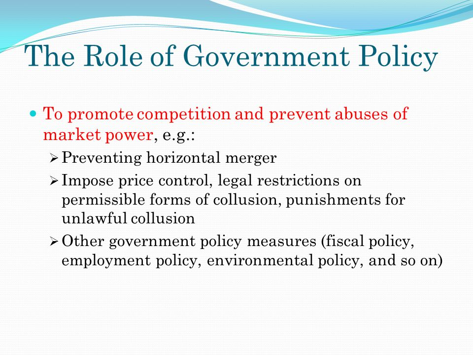 Role of government in policy making