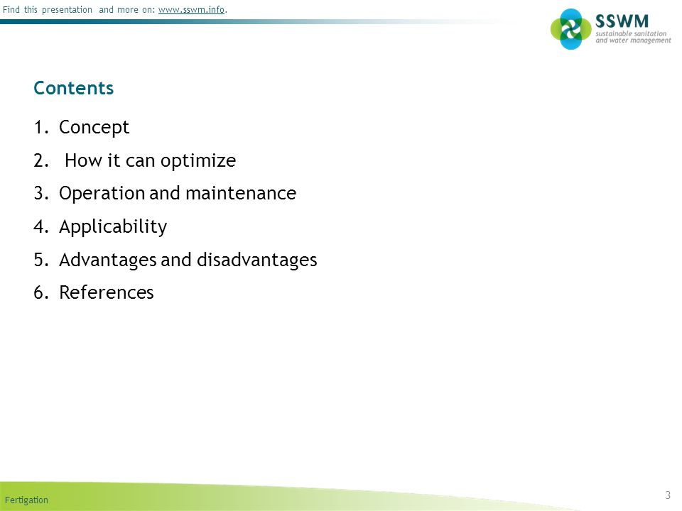 Operation and maintenance Applicability Advantages and disadvantages