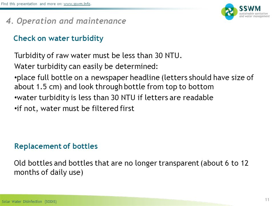 Check on water turbidity