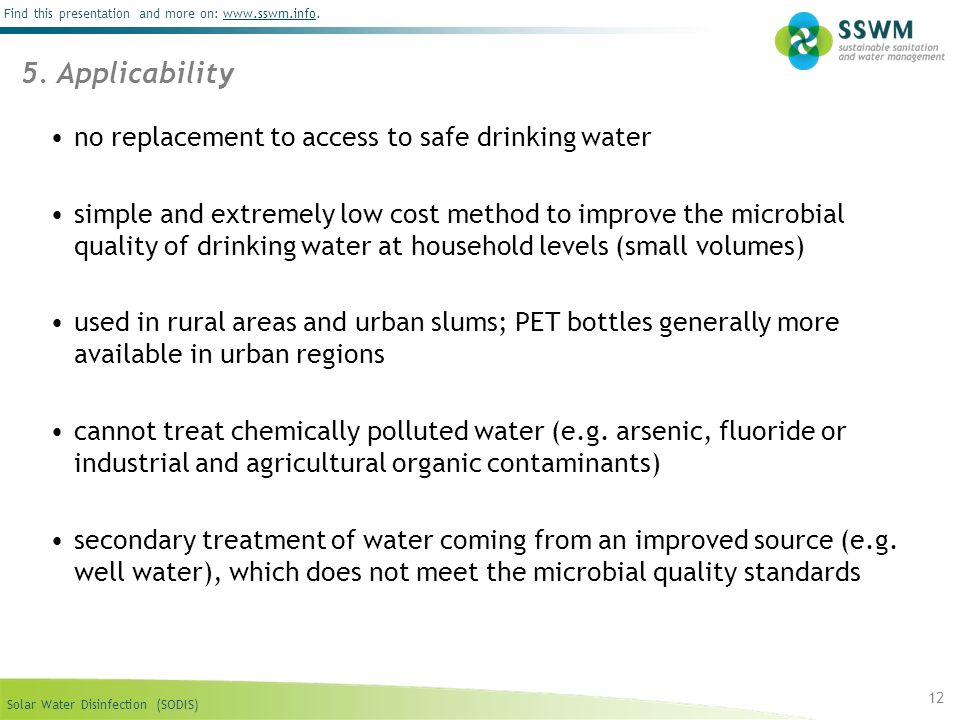 5. Applicability no replacement to access to safe drinking water