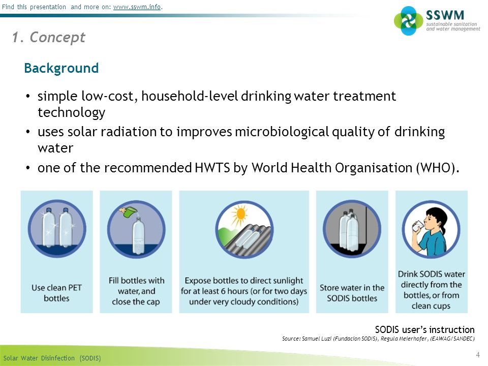 1. Concept Background. simple low-cost, household-level drinking water treatment technology.