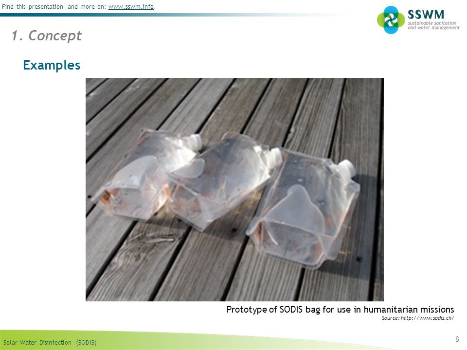 1. Concept Examples. Prototype of SODIS bag for use in humanitarian missions.
