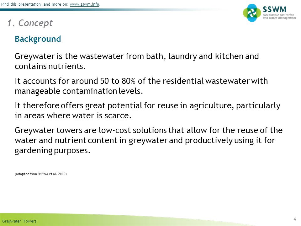 09/14/10 1. Concept. Background. Greywater is the wastewater from bath, laundry and kitchen and contains nutrients.