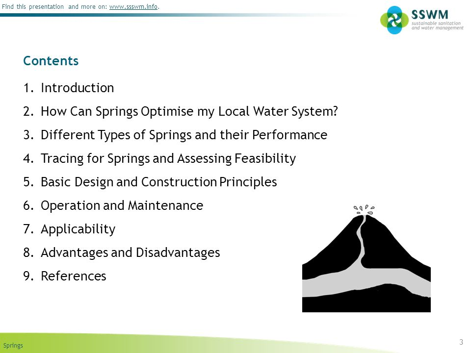 Contents Introduction. How Can Springs Optimise my Local Water System Different Types of Springs and their Performance.