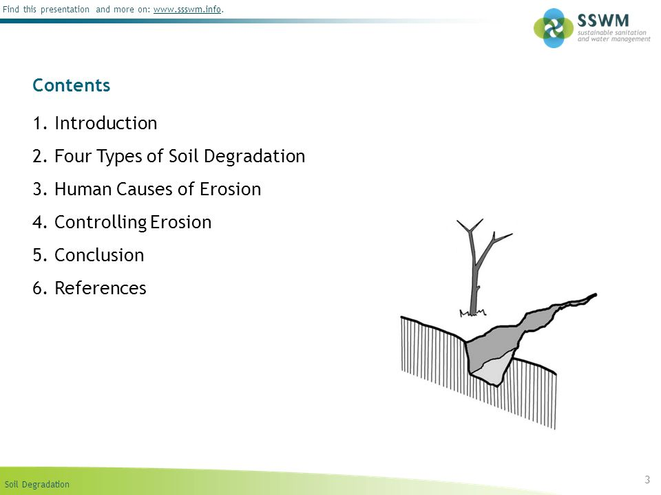Contents1. Introduction. 2. Four Types of Soil Degradation. 3. Human Causes of Erosion. 4. Controlling Erosion.