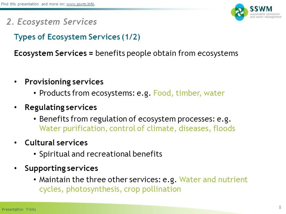 Types of Ecosystem Services (1/2)