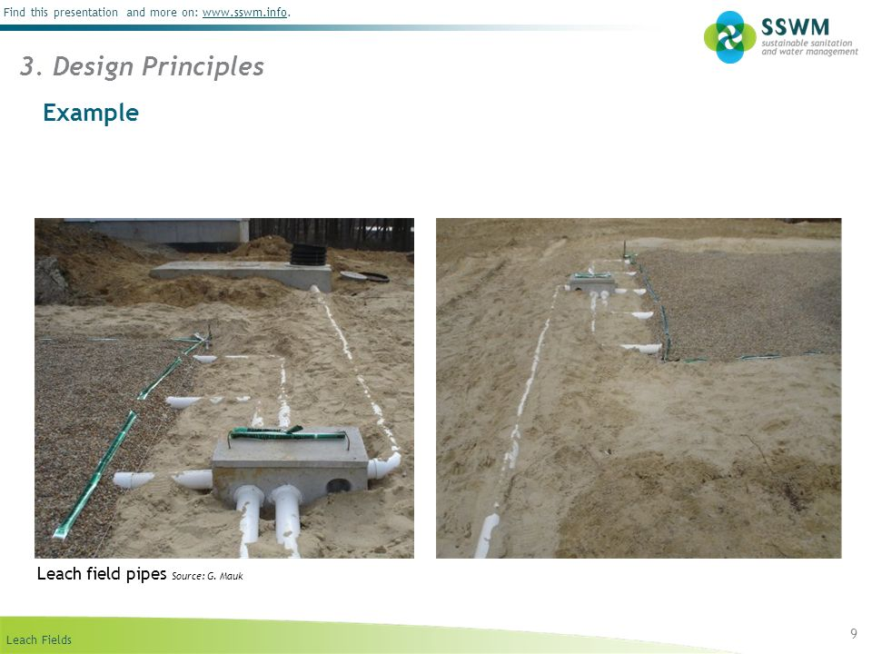 3. Design Principles Example Leach field pipes Source: G. Mauk 9