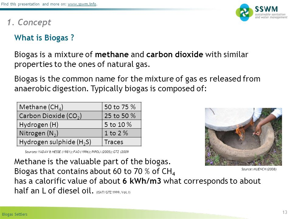 1. Concept What is Biogas Biogas is a mixture of methane and carbon dioxide with similar properties to the ones of natural gas.