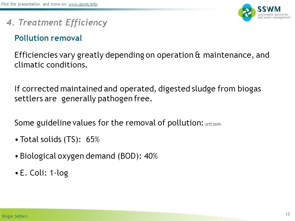 4. Treatment Efficiency Pollution removal